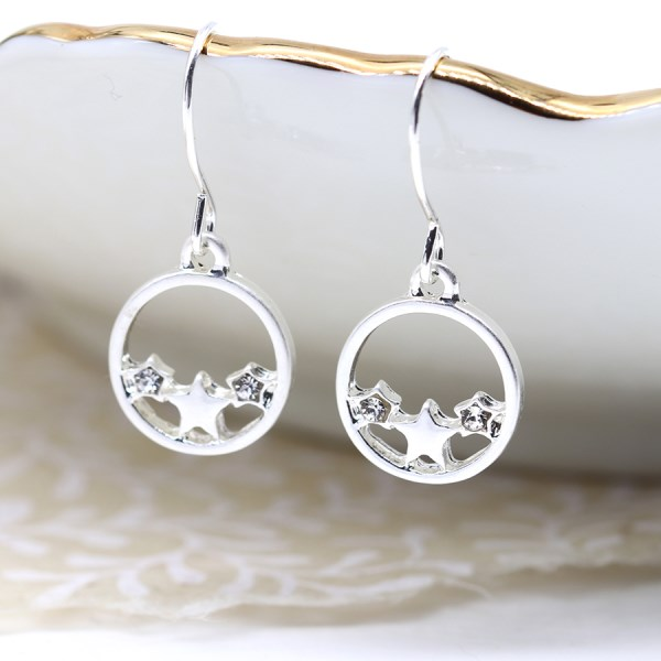Silver plated circle earrings with triple stars and crystals
