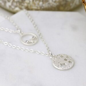 Silver plated double layer star disc necklace with crystals