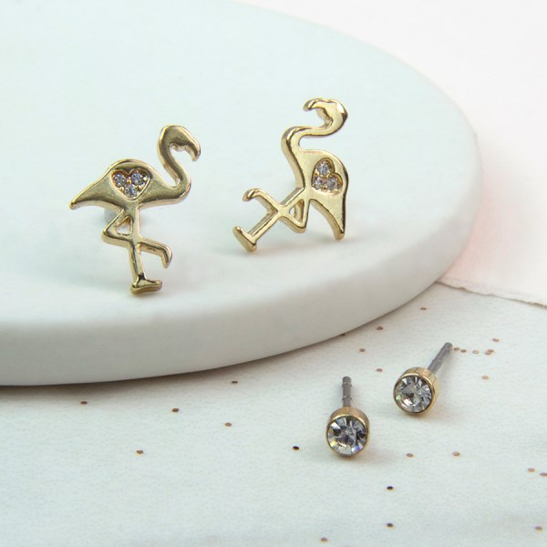 Flamingo and classic crystal studs set