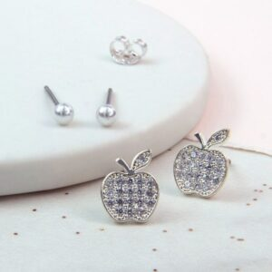 Silver plated crystal apple and ivory pearl stud earring set
