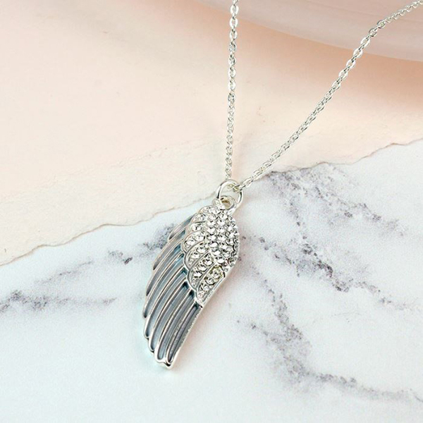 Silver plated enamel angel wing necklace with crystals