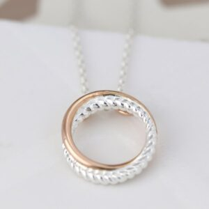 Sterling silver twist and rose gold linked hoop necklace