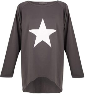 Chalk Robyn Top Charcoal with white star