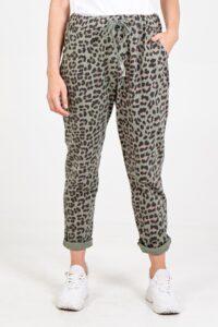 Four Pocket Leopard Print Jogger Khaki
