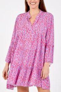 Leopard print tiered smock dress