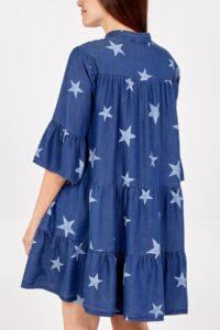 Denim Star Frill Sleeve Dress