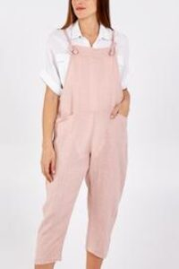 bow detail dungarees - pink Linen