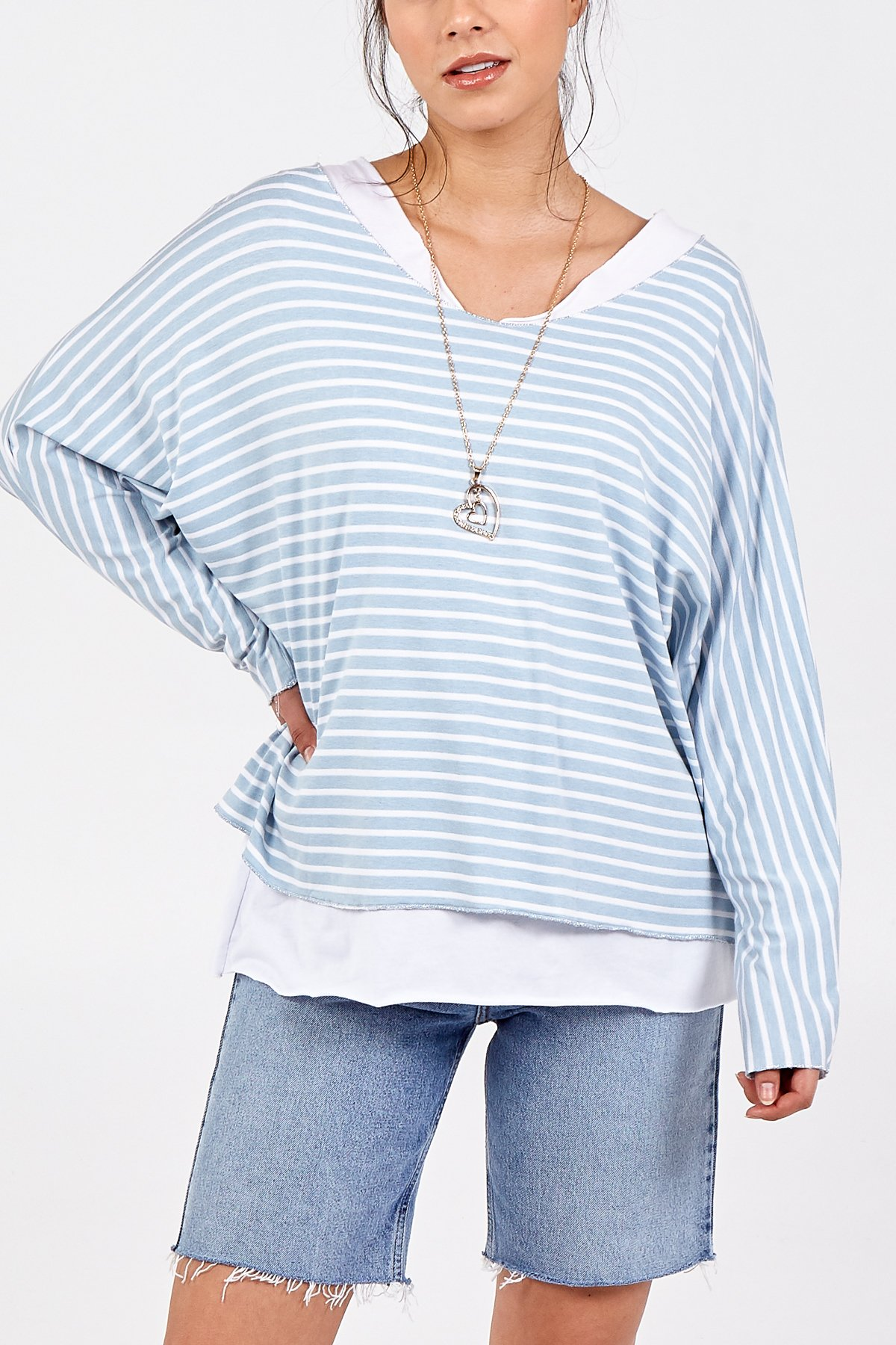 Two In One Stripe Long Sleeve Necklace Top