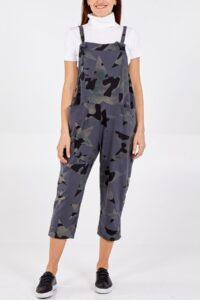 Camouflage Star Print Dungarees - Charcoal