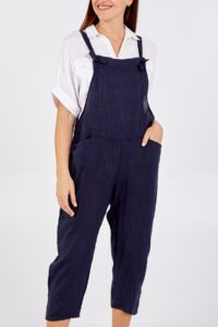 Bow Detail Dungarees - Navy Linen