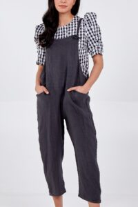 Bow Detail Dungarees - Charcoal Linen