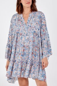 Paisley Print Long Sleeve Smock Dress - sky blue