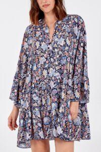 Paisley Print Long Sleeve Smock Dress - Navy