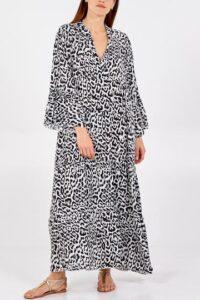 Leopard Maxi Smock Dress - Cream