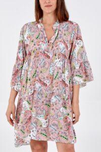 Paisley Print Smock Dress Blush