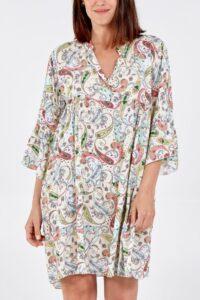 Paisley Print Smock Dress White