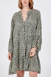Digital Leopard Print Button Detail Smock Dress - Khaki