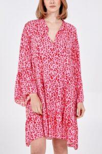 Digital Leopard print smock dress - Hot pink