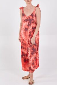 Tie Dye bow straps dungarees - Coral