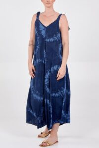 Tie Dye Bow Straps Dungarees- Navy