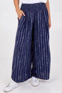 Shirred Waistband Vertical Stripe Trousers - Navy