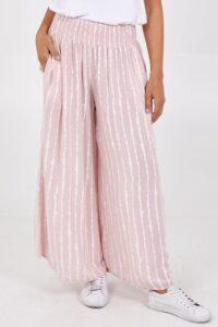 Shirred Waistband Vertical stripe trousers - Blush Pink