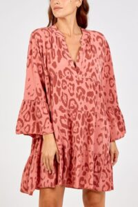 Leopard Print Smock Dress - Coral