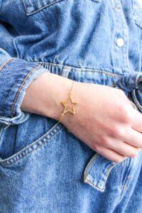 Brushed Gold Star Bracelet