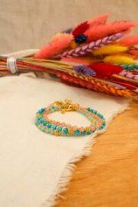 Semi Precious Facet Bead Bracelet Blue Chalcedonay / Rose Quartz