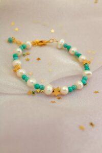 Turquoise & Pearl Star Bracelet