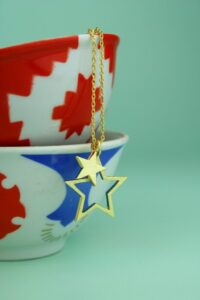 Double Brushed Gold Star Necklace