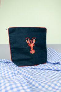 Ocean Teal Velvet Beaded Lobster Make Up Bag