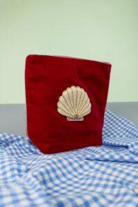 Magenta Velvet Beaded Shell Make Up Bag