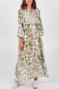 Giraffe Print Maxi Smock Dress - Khaki