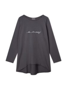 """Chalk Robyn Top - Charcoal """"Be happy"""""""